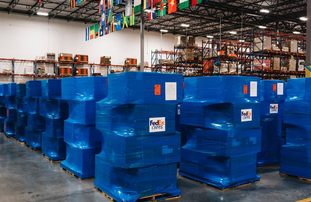 "As part of FedEx Cares ""Delivering for Good"" initiative, FedEx collaborated with Direct Relief to transport over 3.3 million surgical masks from China to U.S., Mexico, Ecuador and Peru in April."