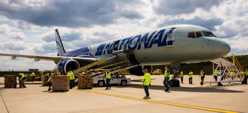 National's Boeing 757 passenger plane carrying 3M products from Seoul lands in Pittsburgh airport on April 25.