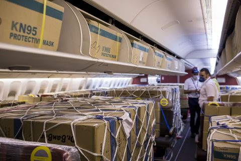 Interior of the aircraft loaded with cargo