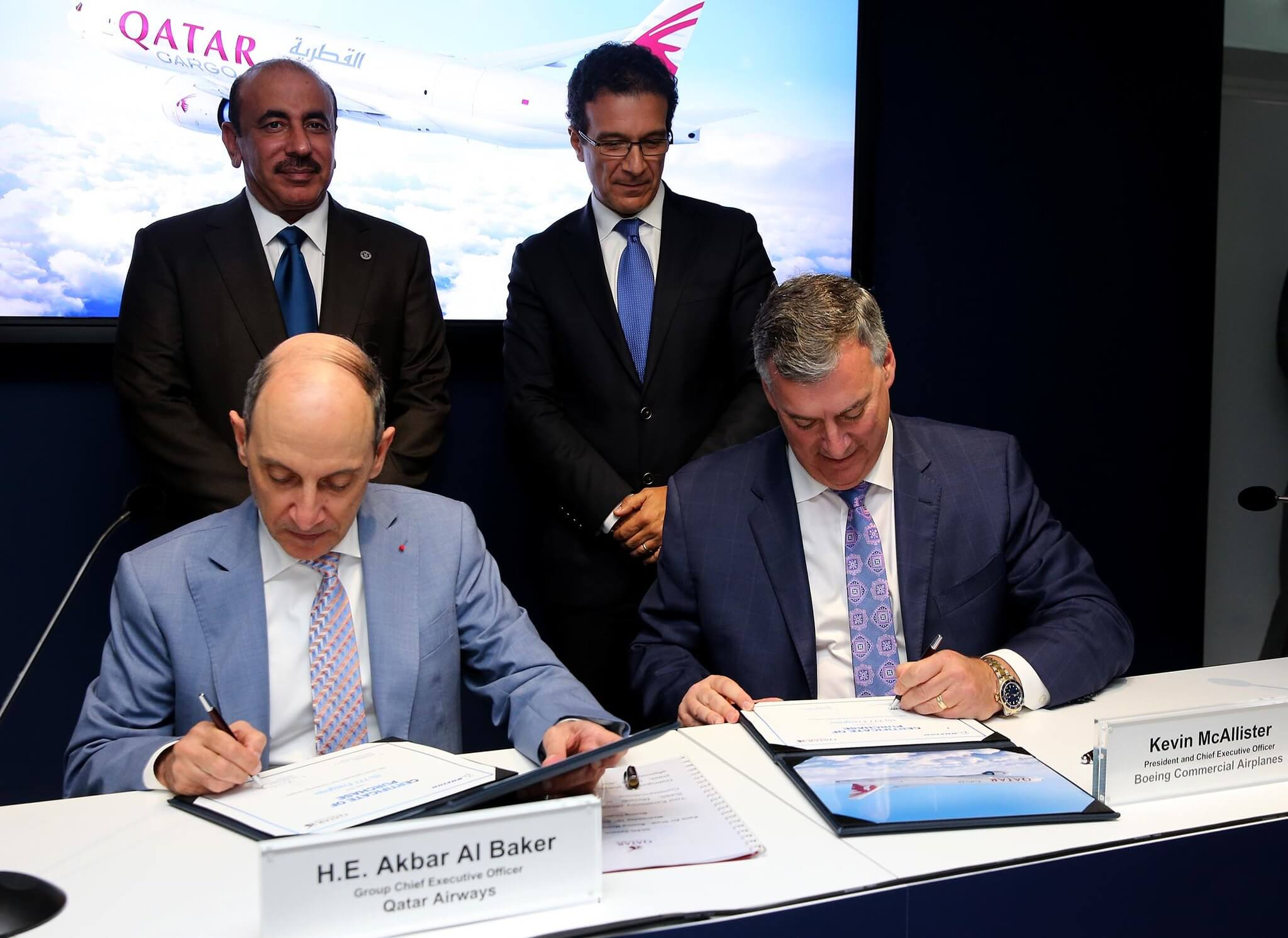 Qatar Airways signing the deal with Boeing to buy 5 B777Fs at the Paris Air Show 2019