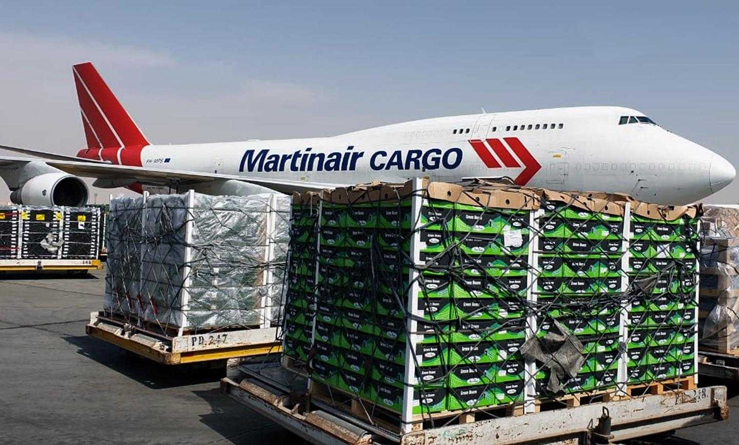 Martinair Cargo flies a weekly freighter on the Amsterdam-Cairo route carrying fresh, pharma and aerospace