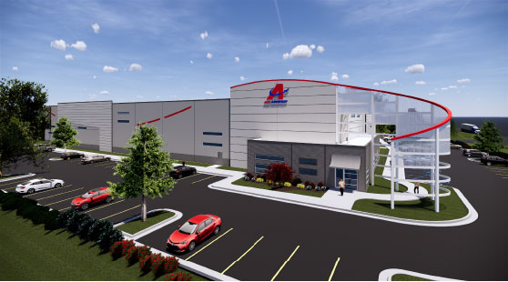 A computer rendering of the ACL Airshop's modern state-of-the-art new factory in Greenville, South Carolina, USA. The factory will be inaugurated on May 17, 2019