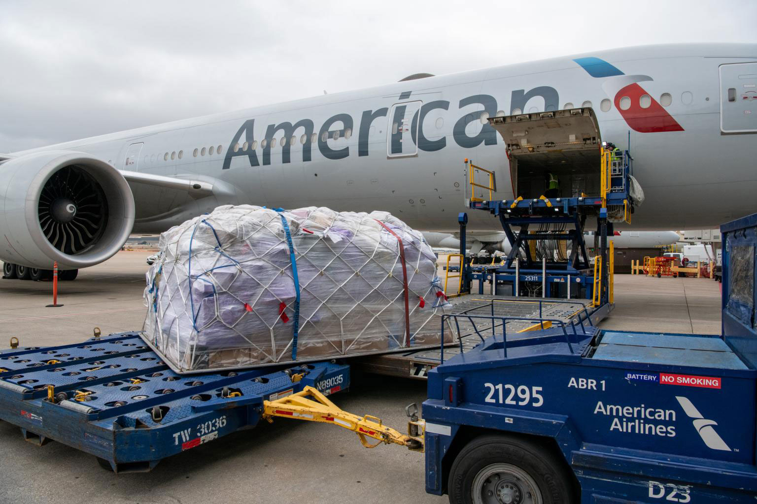 American Airlines' first cargo-only flight before taking off from Dallas Fort Worth Airport to Frankfurt Airport on March 20