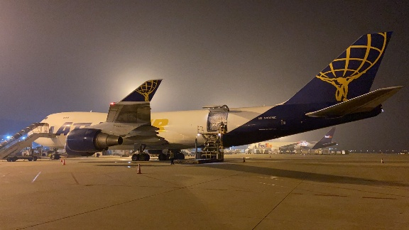 The first of two 747-400F carrying personal protective equipment for NYU Langone Health to be loaded in Shanghai.