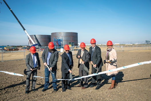 The breaking ground ceremony at the Edmonton International Airport's Cargo Village where Shell Aviation is building tanks that will handle air cargo freighters