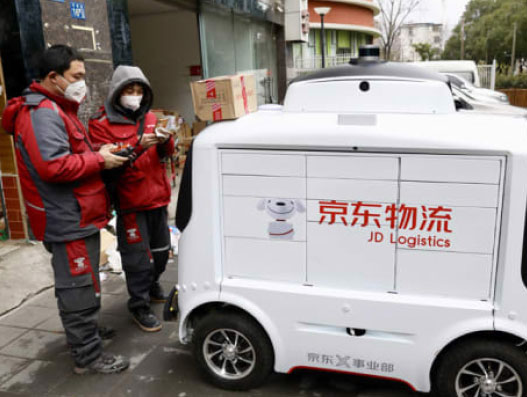 In Wuhan, JD Logistics is using a fleet of autonomous robots to deliver essential goods to residents stuck at home due to the coronavirus