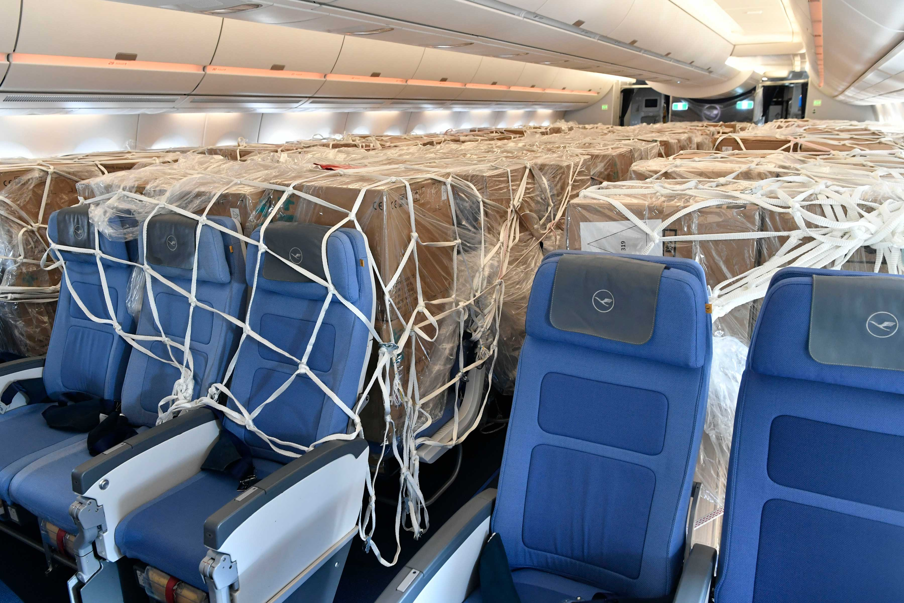 Lufthansa's A350 cabin carrying masks and other PPEs to Munich
