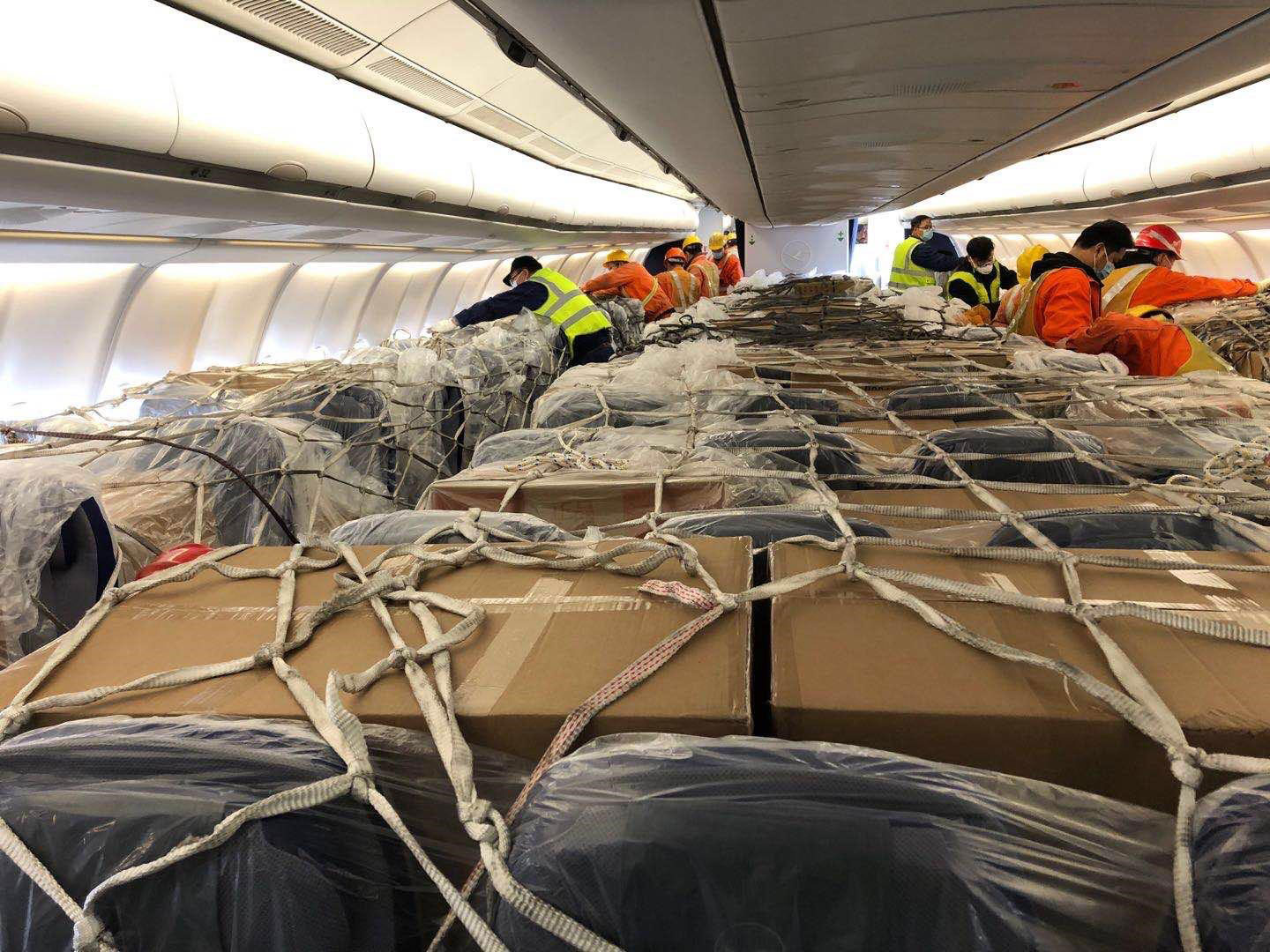 Lufthansa's Airbus A330 passenger aircraft loaded with 30 tonnes of medical goods was transported from Shanghai to Frankfurt