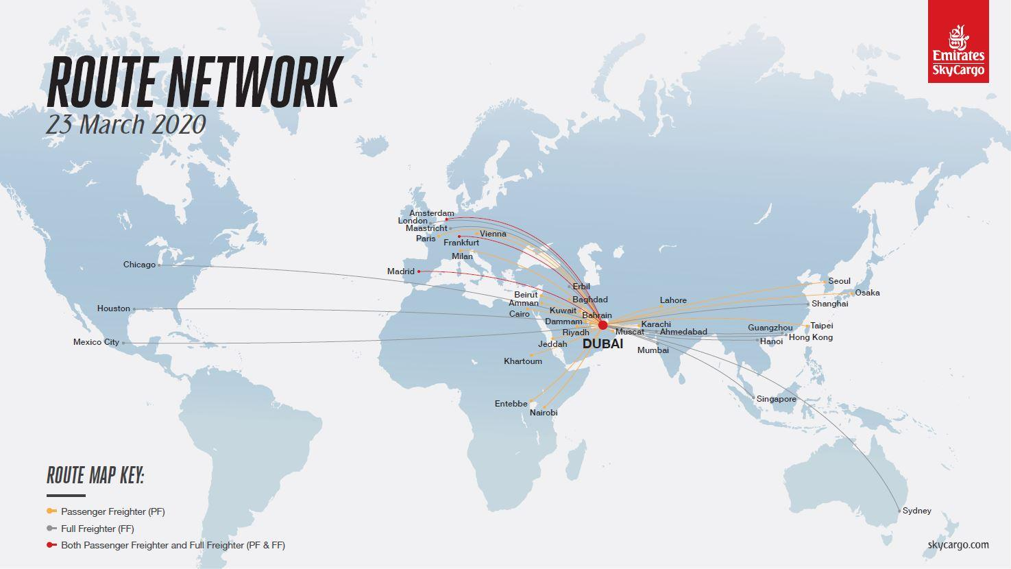 Route network of Emirates SkyCargo's passenger freighters and full freighters published as of March 23