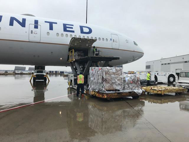 United Airlines' first cargo-only charter before departing from Chicago O'Hare Airport to Frankfurt Airport on March 19