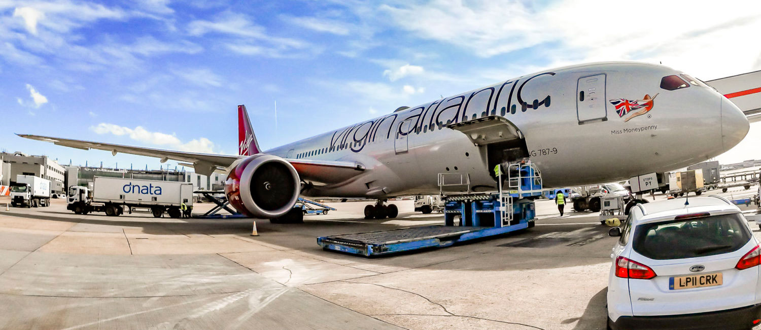 Virgin Atlantic's first cargo-only charter at London Heathrow Airport before leaving to New York JFK Airport on March 21