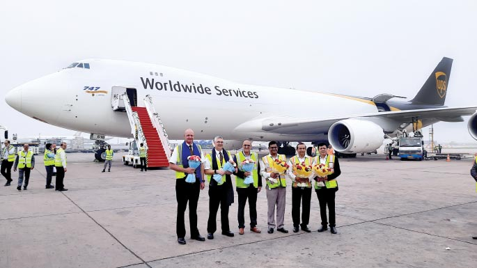 Welcoming UPS's B747-8F and its crew at Delhi International Airport