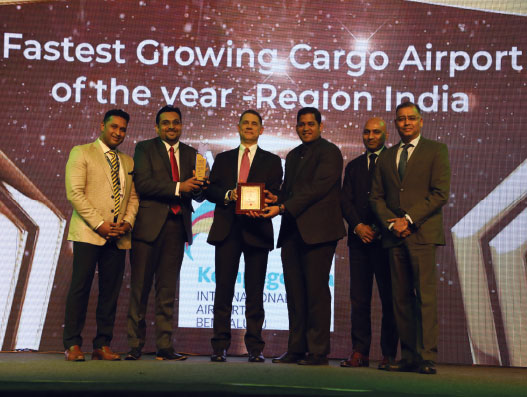 BIAL was awarded the fastest growing cargo airport of the year in India in The STAT Trade Times Award for Excellence in Air Cargo during Air Cargo India conference and exhibition in Mumbai