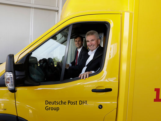 Andreas Pinkwart, economics minister of North Rhine-Westphalia, and Tobias Meyer, board of management member who oversees Post & Parcel Germany