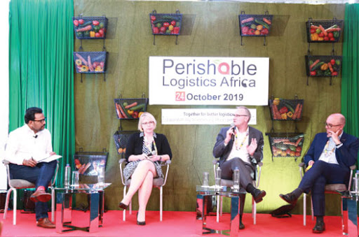 Moderator Reji John, Andrea Gruber of IATA, Max Conrady of Frankfurt Airport and Jeroen de Clerco of Swissport International deliberate on setting standards and building capacity for transport logistics of perishable goods