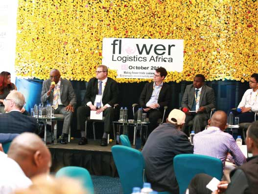 (L-R)  Moderator Surya Kannoth, Jacob Bwana of KAA, Maarten Klijnstra of Siginon Aviation, Jack Luft of InspiraFarms, Isaac Macharia of KEPHIS and David Dass of Black Tulip Group talk about building cold chain capacity in Africa