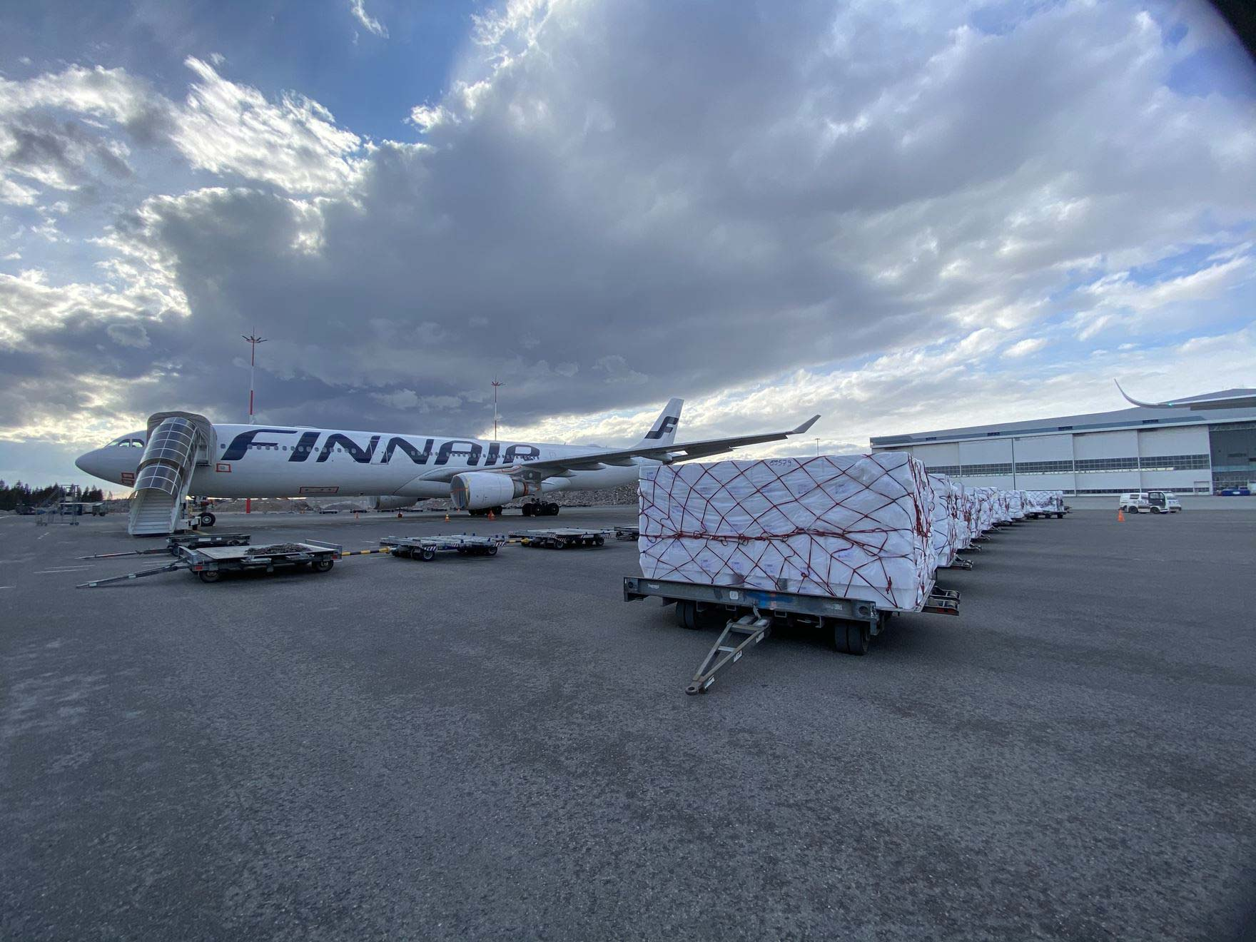 Finnair A350 is loaded with cargo before heading to South Korea