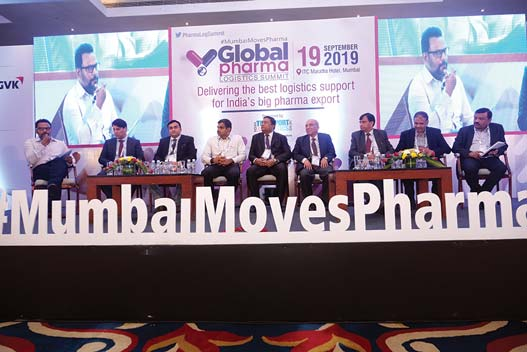 L to R: Moderator Reji John, Stephen Maietta of Envirotainer, Vikram Khurana of Sheetal Parivahan, Rajasekhara Reddy of Glenmark, Manoj Singh of MIAL,  Ashok Bhattacharya of Takeda Pharma India, Sudhir Mohan Bansal of Pfizer India, Alan Fernandes of Sanofi India, and Venugopal Bangera of CSC Mumbai