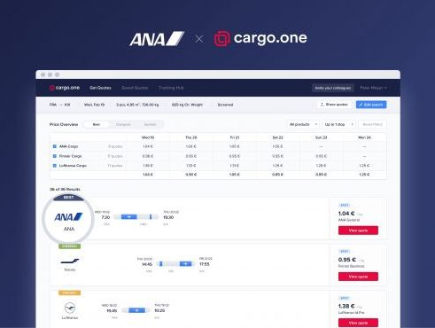 ANA provides real-time quotes for cargo on cargo.one