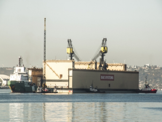 BAE Systems receives new dry dock at San Diego shipyard