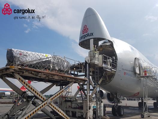 Solar-powered boat carried onboard Cargolux
