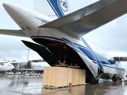 DB Schenker's An-124 charter moves 82T vaccine filling line Germany-US