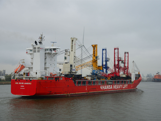 HANSA HEAVY LIFT delivers five large cranes to Bulgaria and Egypt