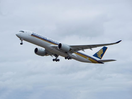 Singapore Airlines' A350 inaugural flight from Manchester lands at Bush Airport