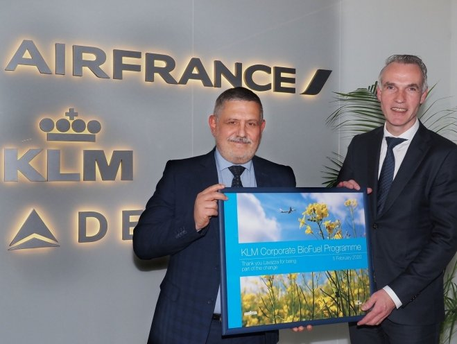 KLM's corporate biofuel program welcomes Lavazza