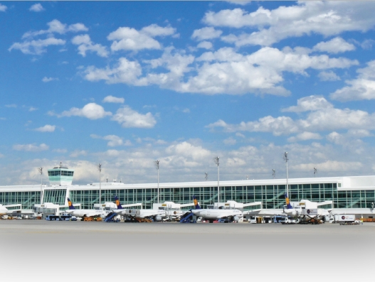 Munich Airport flying on silver wings