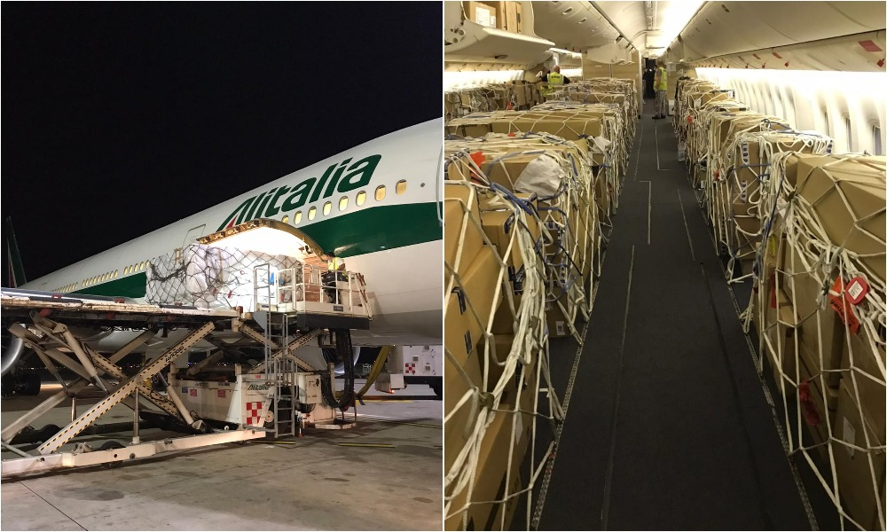 Alitalia Cargo uplifts record 54 tonne load from Delhi to Rome