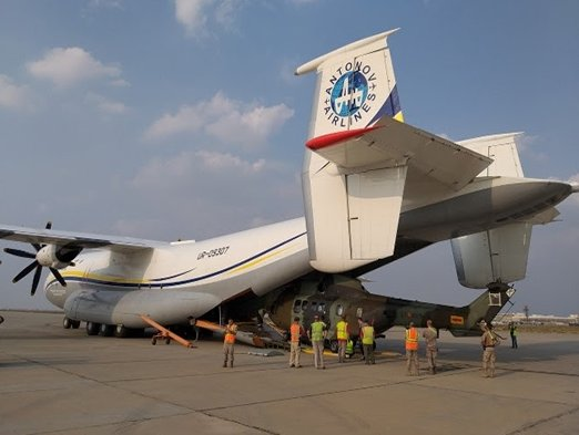 Antonov Airlines airlifts helicopters and spare parts on its AN-22 Antei