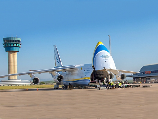 Antonov An-124, the jumbo craft delivers the largest cargo to Dube TradePort