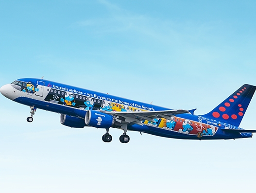 Brussels Airlines' 'Aerosmurf' to showcase its Belgian colours across Europe