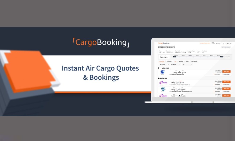 CargoBooking provides booking with API integration and instant air cargo quote