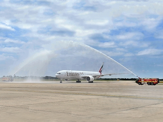 Emirates' inaugural flight from Dubai to London Stansted