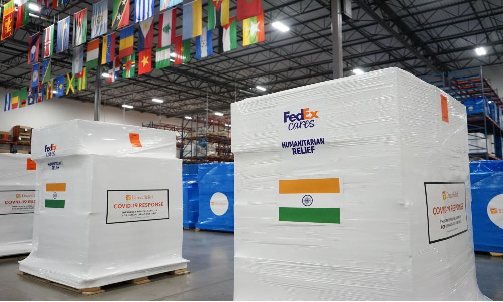 On May 8, FedEx is donating a FedEx Boeing 777F charter flight to move more than 3,400 oxygen concentrators, converters and nearly 265,000 KN95 masks for Direct Relief from Newark to Mumbai.