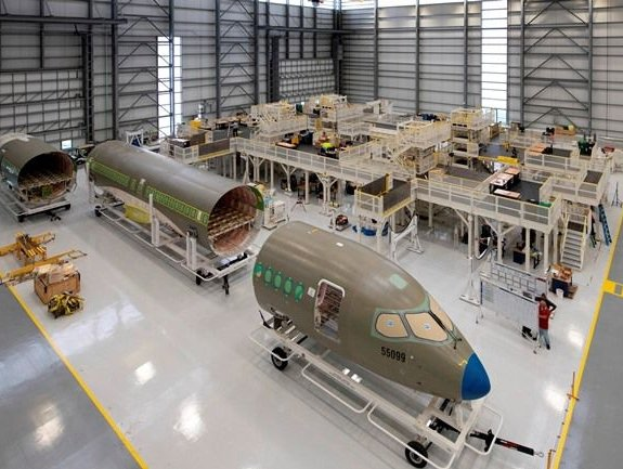 Airbus inaugurates its completed A220 commercial aircraft final assembly line (FAL) in Mobile, Alabama.