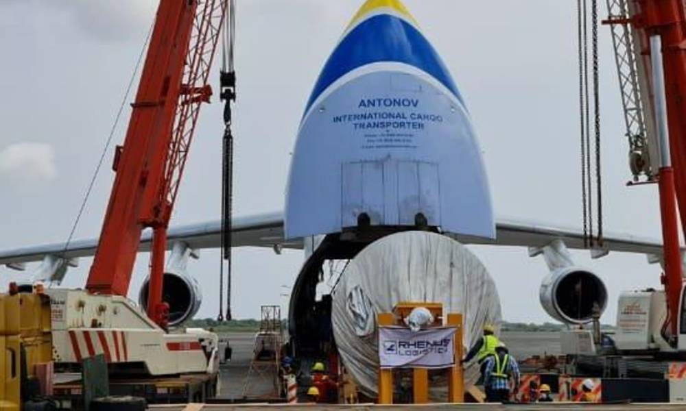 Antonov Airlines transports 54-tonne power generation rotor from Ghana to India