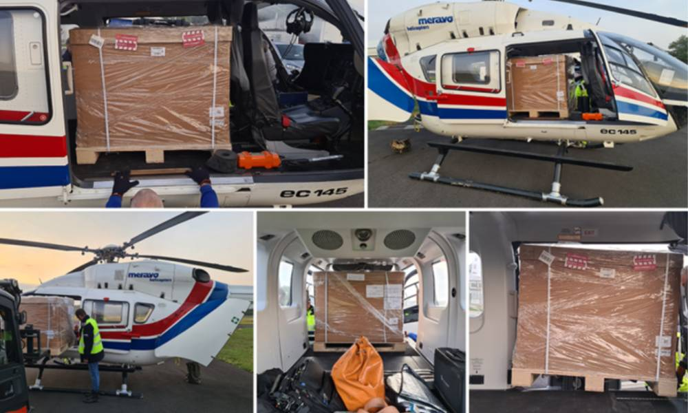 Chapman Freeborn successfully delivers 600 kilo urgent cargo using a helicopter