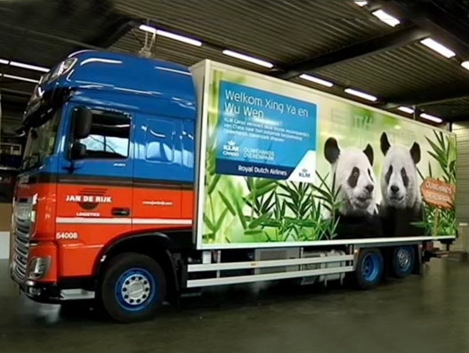 Chinese giant pandas travel to their new home in the Netherlands with the help of Jan de Rijk Logistics