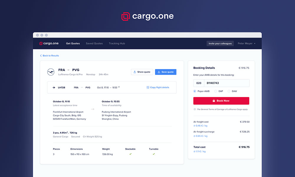 Condor, TUI and Sunclass go live on cargo.one e-booking platform