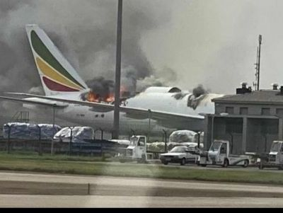 Ethiopian's B777-200F catches fire at China's Shanghai airport