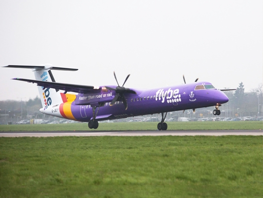Flybe lands at Heathrow Airport