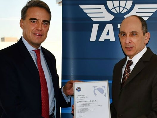 Alexandre de Juniac, director general and CEO of IATA presenting the IEnvA certificate to Qatar Airways group chief executive Akbar Al Baker. Aviation
