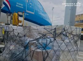 Air France KLM Martinair (AFKLMP) Cargo transported eight dedicated pallets of medical supplies on a KLM passenger flight via Curaçao to Suriname last week.