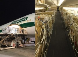 The Boeing 777-300ER that was deployed on this route had its seats removed to accommodate the maximum volume of cargo.