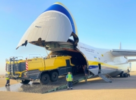Antonov Airlines has safely transported three Rosenbauer Panther 6x6 fire trucks on a single AN-124-100M-150 flight from the Middle East to Central Asia at short notice.