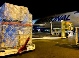 Two million N95-type masks arrived at Pittsburgh International from South Korea early Monday, the third charter cargo flight carrying critical supplies for FEMA in just over two weeks