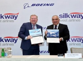 Silk Way West Airlines will expand its international network with an order for five 777 freighters from Boeing.